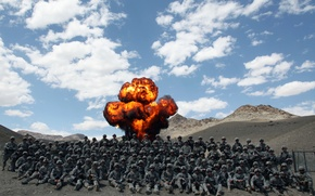 Picture the explosion, military, men, army, Afghanistan, marines, afghanistan
