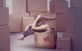 Picture cat, girl, box, sadness, cardboard, moving, fragile