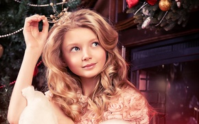Picture girl, toys, tale, crown, Christmas, fireplace, Princess