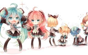 Picture girls, headphones, ice cream, guys, vocaloid, Hatsune Miku, Meiko, Vocaloid, ribbons, Rin, Kaito, tails, Megurine …