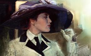 Picture girl, hat, art, gloves, Titanic, painting, Titanic, Kate Winslet, Kate Winslet, Rose, DeWitt, Bukater
