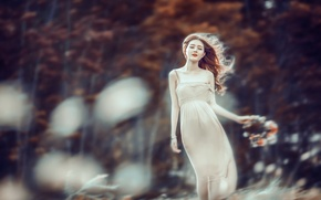 Picture girl, nature, mood, the wind