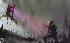 Picture snow, mountains, rocks, robot, sword, katana, samurai
