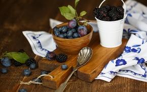 Wallpaper berries, blueberries, spoon, dishes, Board, fruit, plum, BlackBerry