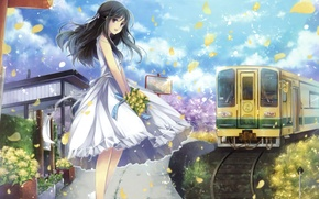 Picture girl, joy, flowers, smile, train, bouquet, petals, dress, long hair, long hair, anime, art, hagiwara …