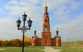 Picture autumn, Chapel, Church, lantern, Temple, OMSK, Achair monastery