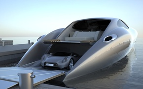 Picture sea, pier, with supercar on Board, Gray Design, megayacht, Strand Craft 122