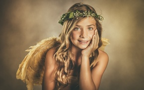 Picture look, smile, mood, portrait, wings, angel, girl, wreath