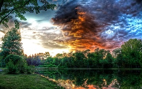 Picture forest, the sky, clouds, trees, sunset, clouds, pond, Park, river