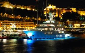 Picture city, yacht, port, Monaco, Monaco, Hercules, yacht, yachts, port, Monte Carlo, Monte Carlo, evening., super …