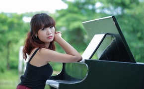 Picture girl, music, Asian, piano