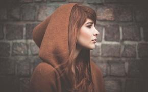 Picture portrait, hood, profile, Julia