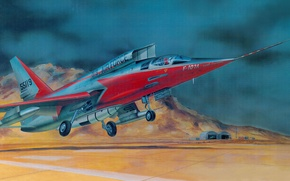 Wallpaper North American F-107, figure, United States Air Force, tactical fighter-bomber