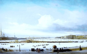 Picture winter, the sky, clouds, snow, river, people, shore, horses, picture, horse, painting, three, promenade, Bogolyubov, …