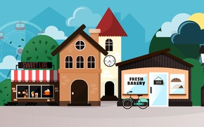 Picture street, home, vector, town