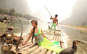 Wallpaper cinema, film, nature, indian, telugu, Amy Jackson, animal, girl, movie, Vikram, I, river, man