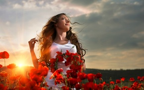 Picture woman, sunset, flower field