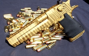 Picture gold, Desert eagle, gold ammo