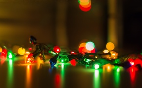 Picture new year, lights, garland