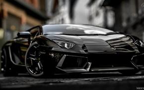 Picture Black, Lamborghini, Power, Aventador, Blurred background, Sports car