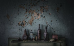 Picture background, wall, bottle