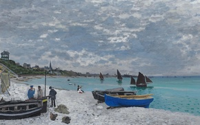Picture landscape, boat, picture, sail, Claude Monet, The beach at Sainte-Adresse