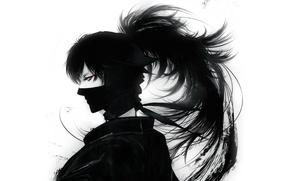 Picture mask, black and white, ninja, red eye, Doi Hansuke, Rakudai Ninja Rantarou