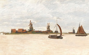 Picture landscape, boat, picture, sail, Claude Monet, windmill, The Voorzaan