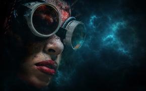 Picture portrait, glasses, digital art, darkness, techno style, Sarah-Marie Beinsen
