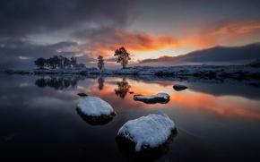 Wallpaper winter, sunset, river