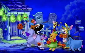 Wallpaper joy, night, lights, house, candy, Halloween, Halloween, friends, Winnie The Pooh