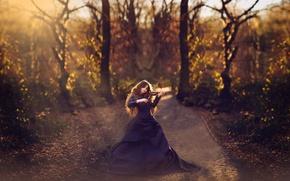 Picture violin, dress, girl, sunlight