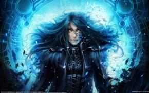 Picture girl, storm, blue, feathers, Ukraine, helen rusovich