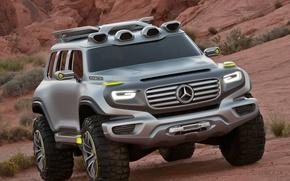 Picture auto, mountains, machine, desert, jeep, SUV, the concept, Mercedes, Mercedes, the bushes, benz, Kar, Benz, …