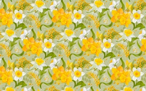 Picture flowers, holiday, texture, spring, March 8, daffodils, Mimosa