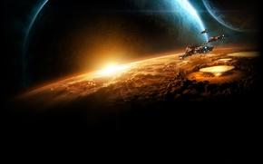 Picture starcraft 2, destruction, cruisers, evacuation