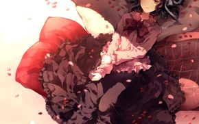 Picture girl, bed, pillow, petals, dress, short hair, lying, black hair, high boots, Sunakumo, Fanart