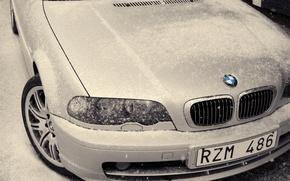 Wallpaper white, Bmw, winter