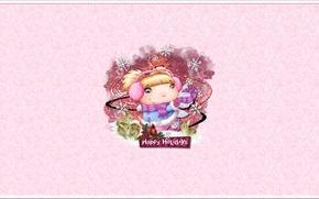 Wallpaper mood, holiday, figure, new year, rabbit, girl, snowflake, postcard