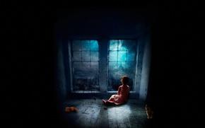 Picture cat, night, darkness, window, girl, floor, sitting, on the floor