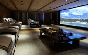 Picture movie, interior, pillow, backlight, tables, theatre, sofas, screen, home, film.