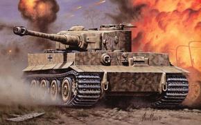 Picture tiger, fire, war, Wallpaper, tank, the battle, armor