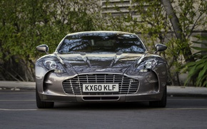 Wallpaper trees, Aston Martin, before, Aston Martin, Parking, supercar, supercar, front, tree, parking, One-77