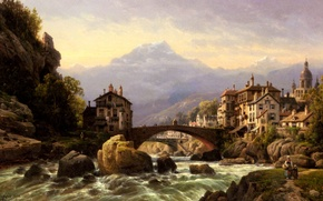 Picture the sky, mountains, clouds, bridge, river, picture, thresholds, Charles Euphrasie