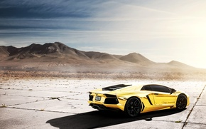 Picture the sky, the sun, reflection, Lamborghini, Lamborghini, Blik, Lamborghini, LP700-4, Aventador, Aventador, LB834, Golden chrome, …