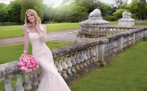 Wallpaper the bride, flowers, wedding, holiday, nature, smile, model, Lindsay Ellingson, dress