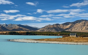 Picture the sky, mountains, house, New Zealand, South island, cluds, Lake Tekapo