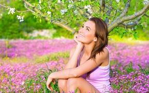 Wallpaper look, flowers, smile, tree, sitting, girl. mood