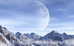 Picture the sky, clouds, snow, mountains, Planet