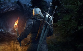 Picture torch, cave, swords, the Witcher, rpg, Geralt, crossbow, the wild hunt, wild hunt, the witcher ...